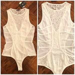 NWT White Lace Mesh Racerback Bodysuit Medium